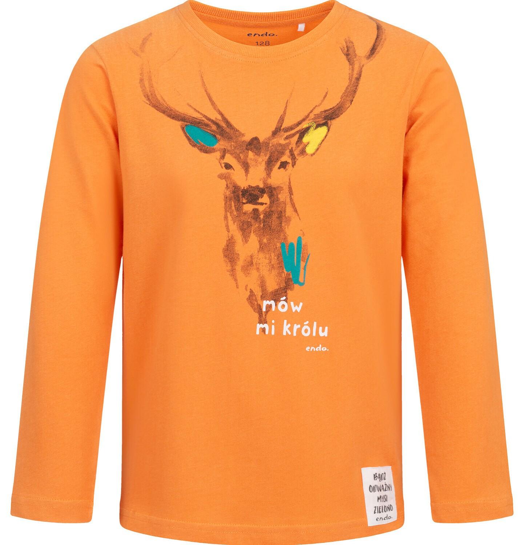 Endo - T-shirt z długim rękawem dla chłopca, z jeleniem, pomarańczowy, 9-13 lat C04G076_1