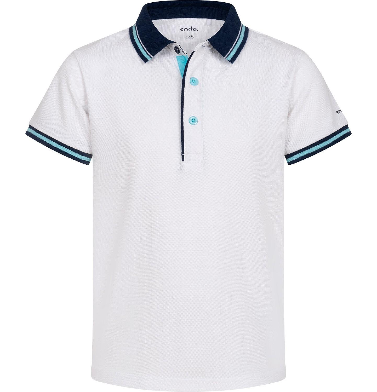 Endo - Koszulka polo z krótkim rekawem dla chłopca, biała z granatowym kołnierzykiem, 2-8 lat C05G147_1