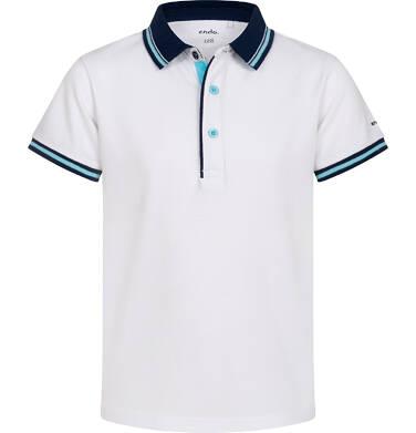 Endo - Koszulka polo z krótkim rekawem dla chłopca, biała z granatowym kołnierzykiem, 2-8 lat C05G147_1,1