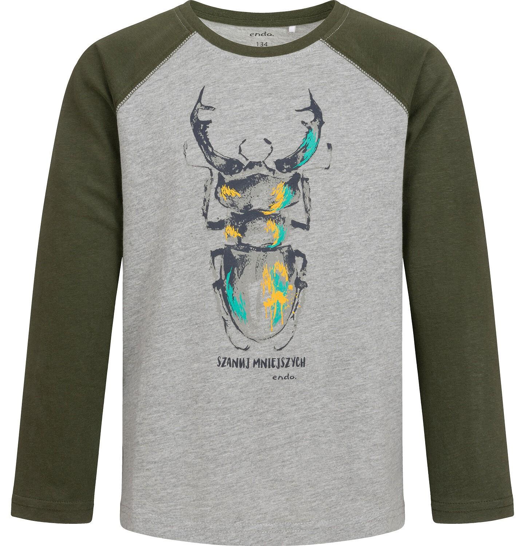 Endo - T-shirt z długim rękawem dla chłopca, z żukiem, szary, 9-13 lat C04G077_1