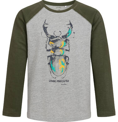Endo - T-shirt z długim rękawem dla chłopca, z żukiem, szary, 9-13 lat C04G077_1 9