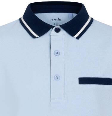Endo - Koszulka polo z krótkim rekawem dla chłopca, błękitna z granatowym kołnierzykiem, 2-8 lat C05G148_1 25