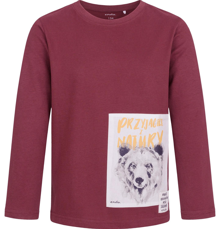 Endo - T-shirt z długim rękawem dla chłopca, bordowy, 9-13 lat C04G078_1