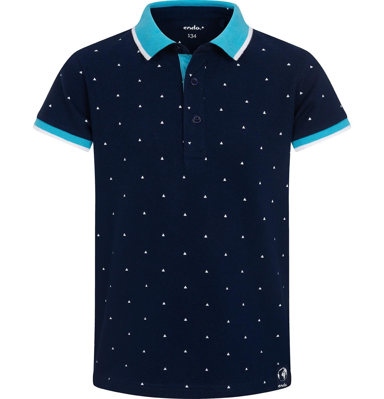 Endo - Koszulka polo z krótkim rekawem dla chłopca, granatowa w drobny wzór, z niebieskim kołnierzykiem, 2-8 lat C05G149_1