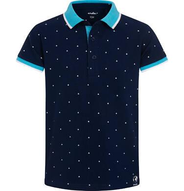 Endo - Koszulka polo z krótkim rekawem dla chłopca, granatowa w drobny wzór, z niebieskim kołnierzykiem, 2-8 lat C05G149_1,1