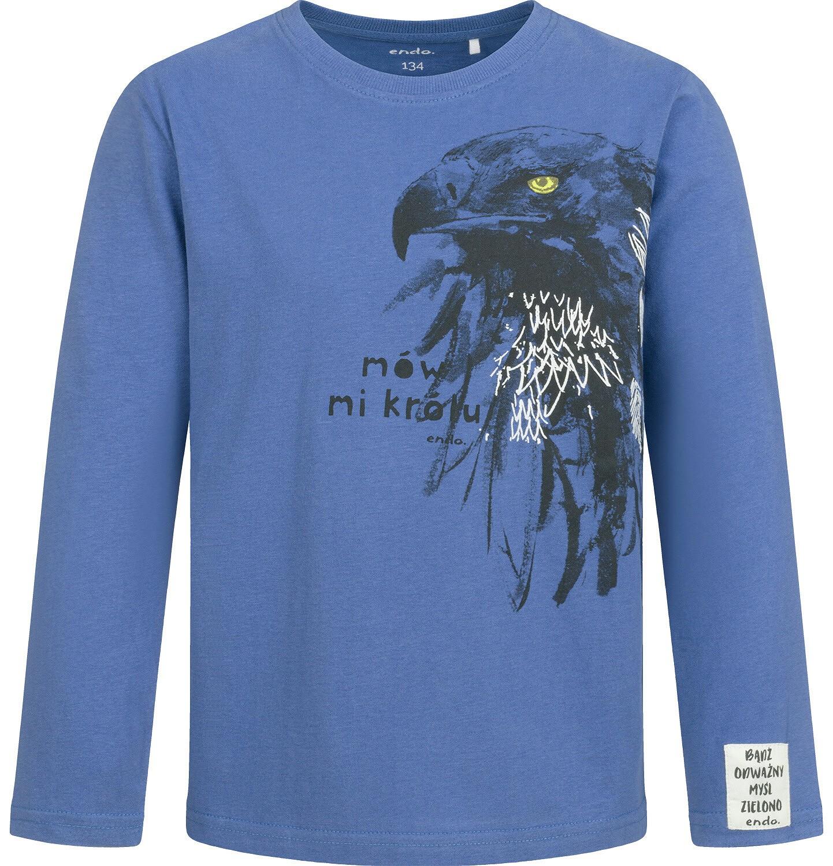 Endo - T-shirt z długim rękawem dla chłopca, z jastrzębiem, niebieski, 9-13 lat C04G079_1
