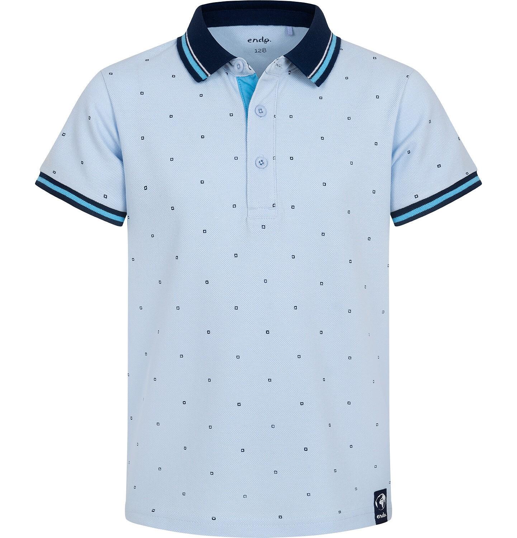 Endo - Koszulka polo z krótkim rekawem dla chłopca, błękitna w drobny wzór, z granatowym kołnierzykiem, 2-8 lat C05G181_1
