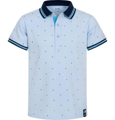 Endo - Koszulka polo z krótkim rekawem dla chłopca, błękitna w drobny wzór, z granatowym kołnierzykiem, 2-8 lat C05G181_1,1