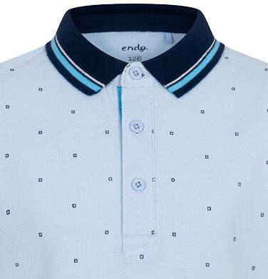 Endo - Koszulka polo z krótkim rekawem dla chłopca, błękitna w drobny wzór, z granatowym kołnierzykiem, 2-8 lat C05G181_1,2
