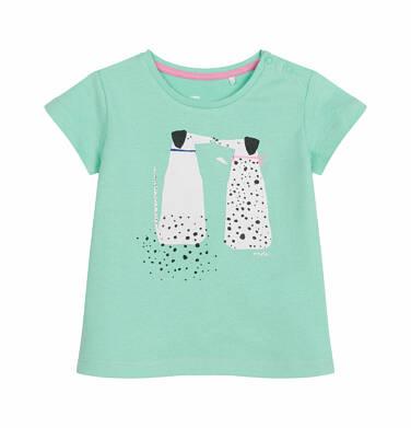 Bluzka z krótkim rękawem dla dziecka do 2 lat, psy w kropki, zielona N03G021_1