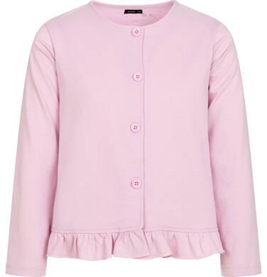Endo - Dżersejowy kardigan dla dziewczynki, z falbanką, różowy, 2-8 lat D05C001_1 10