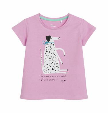 Endo - Bluzka z krótkim rękawem dla dziecka do 2 lat, słodki pies w kropki, różowa N03G022_1