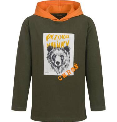 T-shirt z długim rękawem i kapturem dla chłopca, z niedźwiedziem, 9-13 lat C04G088_1