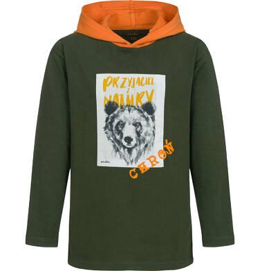 Endo - T-shirt z długim rękawem i kapturem dla chłopca, z niedźwiedziem, 9-13 lat C04G088_1 25