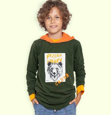 Endo - T-shirt z długim rękawem i kapturem dla chłopca, z niedźwiedziem, 9-13 lat C04G088_1 13