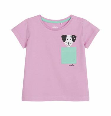 Bluzka z krótkim rękawem dla dziecka do 2 lat, z kieszonką i psem, różowa N03G023_1