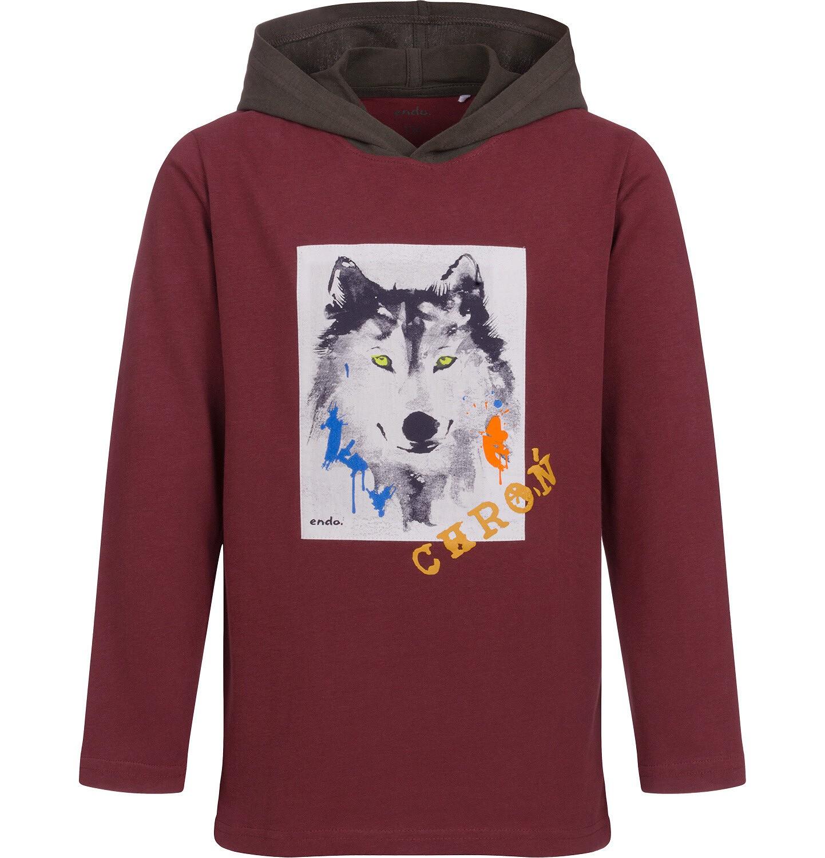 Endo - T-shirt z długim rękawem i kapturem dla chłopca, z wilkiem, 9-13 lat C04G088_2