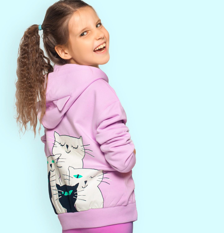 Endo - Rozpinana bluza z kapturem dla dziewczynki, różowa z kotami na plecach i napisem z przodu, 2-8 lat D05C010_1
