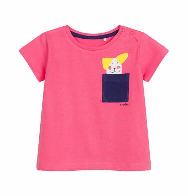 Endo - Bluzka z krótkim rękawem dla dziecka do 2 lat, z kieszonką i psem, różowa N03G024_1