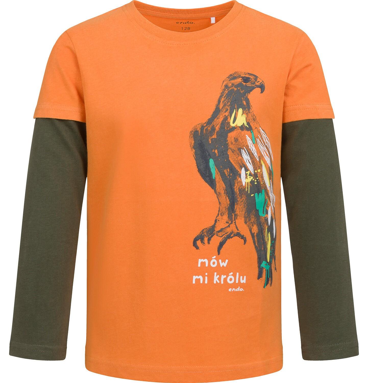 Endo - T-shirt z długim rękawem dla chłopca, z jastrzębiem, pomarańczowy, 2-8 lat C04G110_1