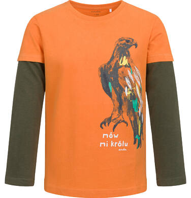 Endo - T-shirt z długim rękawem dla chłopca, z jastrzębiem, pomarańczowy, 2-8 lat C04G110_1,1