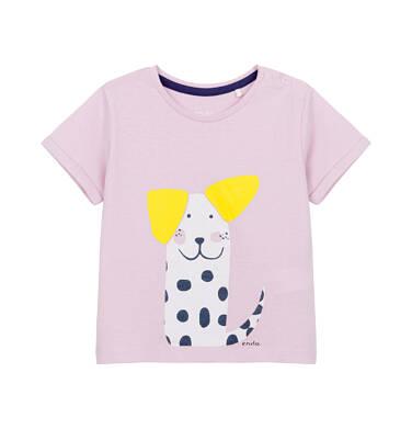 Endo - Bluzka z krótkim rękawem dla dziecka do 2 lat, z psem w kropki, różowa N03G025_1
