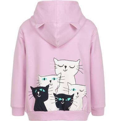 Endo - Rozpinana bluza z kapturem dla dziewczynki, różowa z kotami na plecach i napisem z przodu, 9-13 lat D05C023_1,2