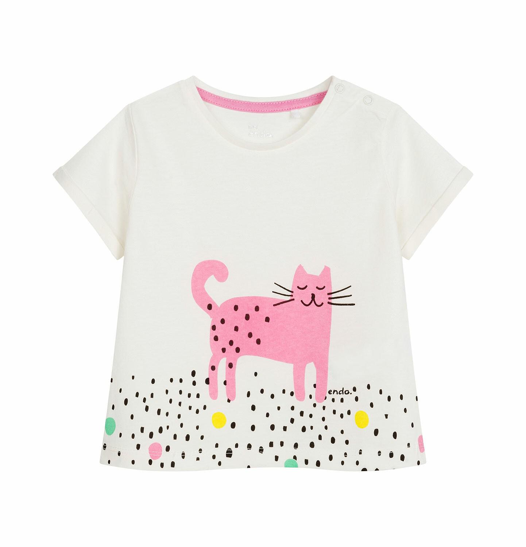 Endo - Bluzka z krótkim rękawem dla dziecka do 2 lat, kot w kropki, porcelanowa N03G026_1