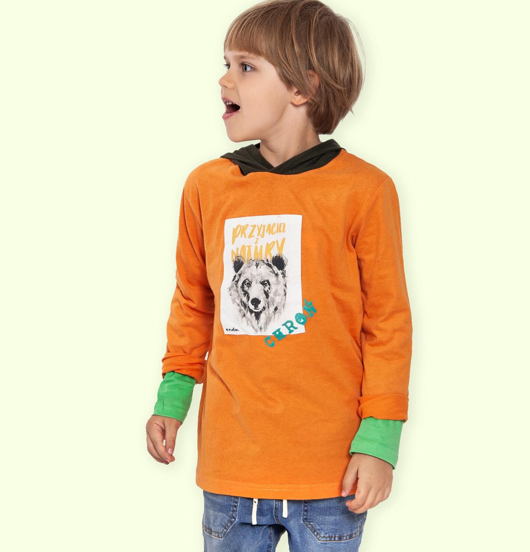 Endo - T-shirt z długim rękawem i kapturem dla chłopca, z niedźwiedziem, 2-8 lat C04G111_2