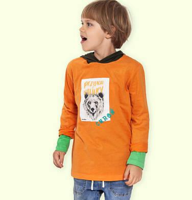 T-shirt z długim rękawem i kapturem dla chłopca, z niedźwiedziem, 2-8 lat C04G111_2