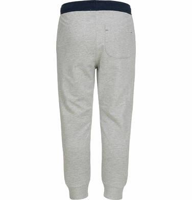 Endo - Spodnie dresowe dla chłopca, kontrastowe ściągacze, szare, 2-8 lat C03K025_1,3