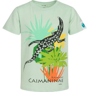 Endo - T shirt z krótkim rękawem dla chłopca, z kajmanem, zielony,  9-13 lat C05G055_1 11