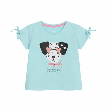 Endo - Bluzka z krótkim rękawem dla dziecka do 2 lat, pies w kropki, niebieska N03G027_1