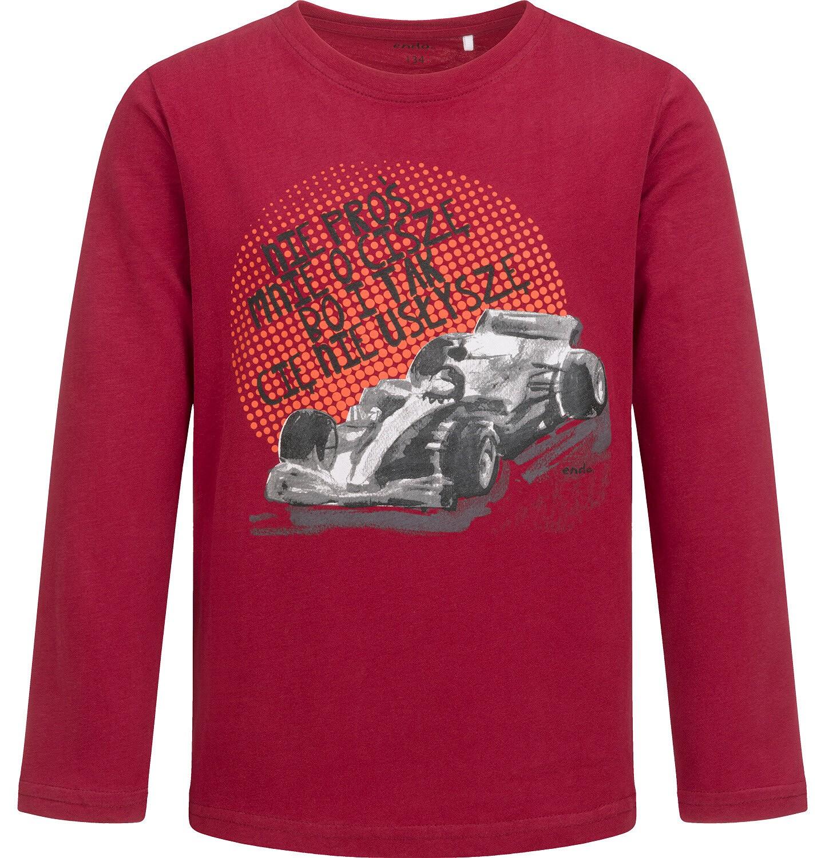 Endo - T-shirt z długim rękawem dla chłopca, z samochodem, bordowy, 9-13 lat C04G174_1