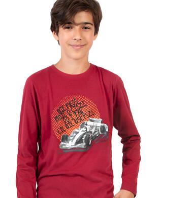 Endo - T-shirt z długim rękawem dla chłopca, z samochodem, bordowy, 9-13 lat C04G174_1 16