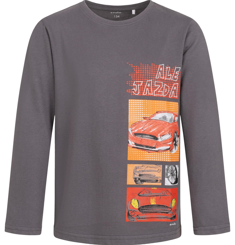 Endo - T-shirt z długim rękawem dla chłopca, z samochodami, 9-13 lat C04G175_1