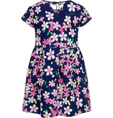 Endo - Sukienka z krótkim rękawem dla dziewczynki, granatowa w różowe kwiatki, 9-13 lat D06H026_1 9
