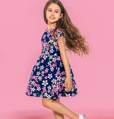 Endo - Sukienka z krótkim rękawem dla dziewczynki, granatowa w różowe kwiatki, 9-13 lat D06H026_1 8