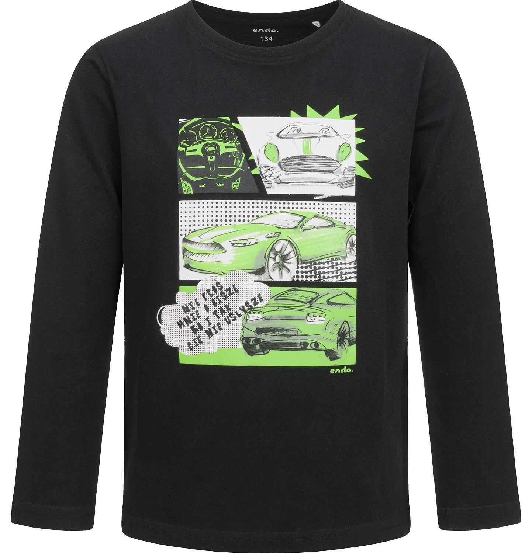 Endo - T-shirt z długim rękawem dla chłopca, z samochodami, 9-13 lat C04G176_1