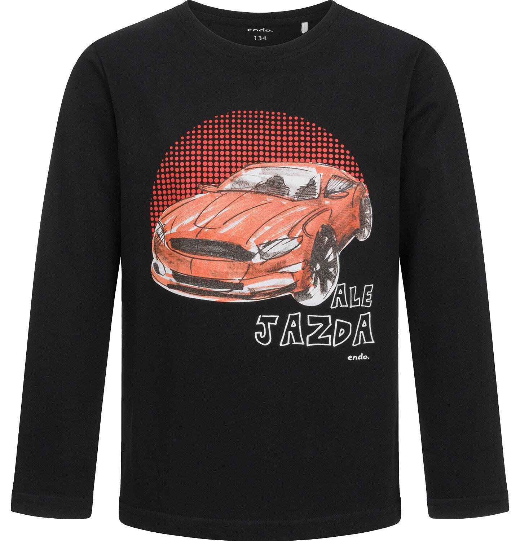 Endo - T-shirt z długim rękawem dla chłopca, z samochodem, czarny, 9-13 lat C04G177_1