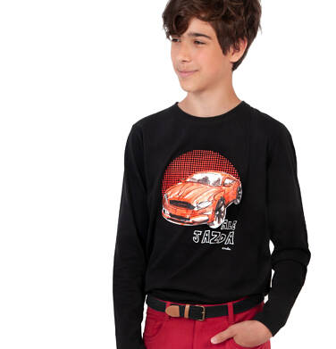 Endo - T-shirt z długim rękawem dla chłopca, z samochodem, czarny, 9-13 lat C04G177_1 32