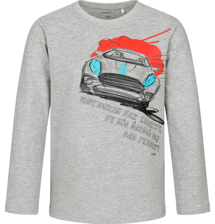 Endo - T-shirt z długim rękawem dla chłopca, z samochodem, szary, 9-13 lat C04G178_1