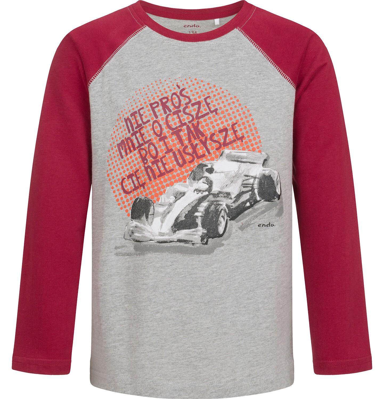 Endo - T-shirt z długim rękawem dla chłopca, z samochodem, szary, 9-13 lat C04G179_1