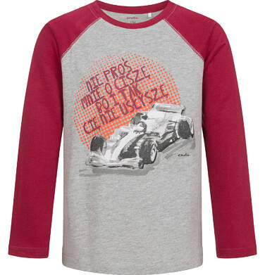 Endo - T-shirt z długim rękawem dla chłopca, z samochodem, szary, 9-13 lat C04G179_1 12