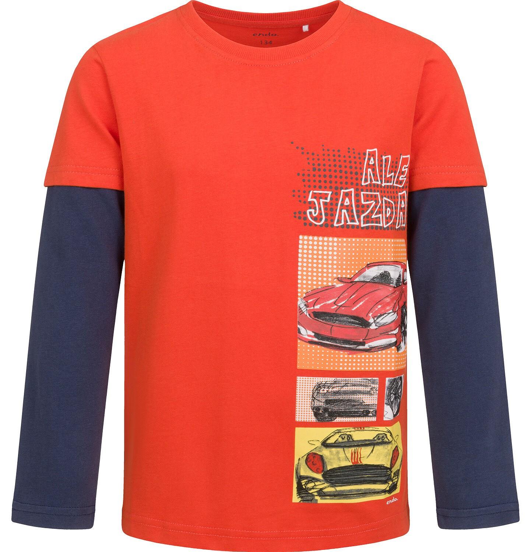 Endo - T-shirt z długim rękawem dla chłopca, z samochodami, czerwony, 9-13 lat C04G180_1