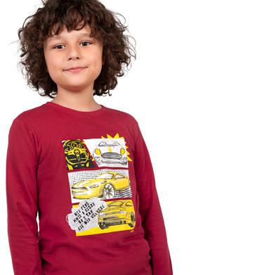 Endo - T-shirt z długim rękawem dla chłopca, bordowy, 9-13 lat C04G181_1 23