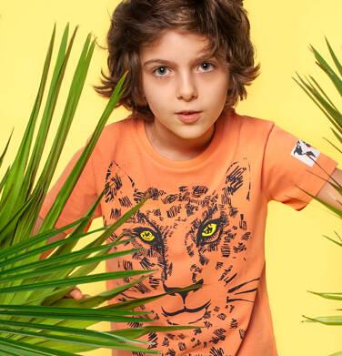 Endo - T-shirt z krótkim rękawem dla chłopca, z lampartem, pomarańczowy, 9-13 lat C05G067_1 101