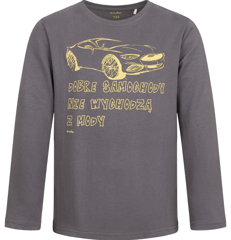 Endo - T-shirt z długim rękawem dla chłopca, z samochodem, szary, 9-13 lat C04G183_2