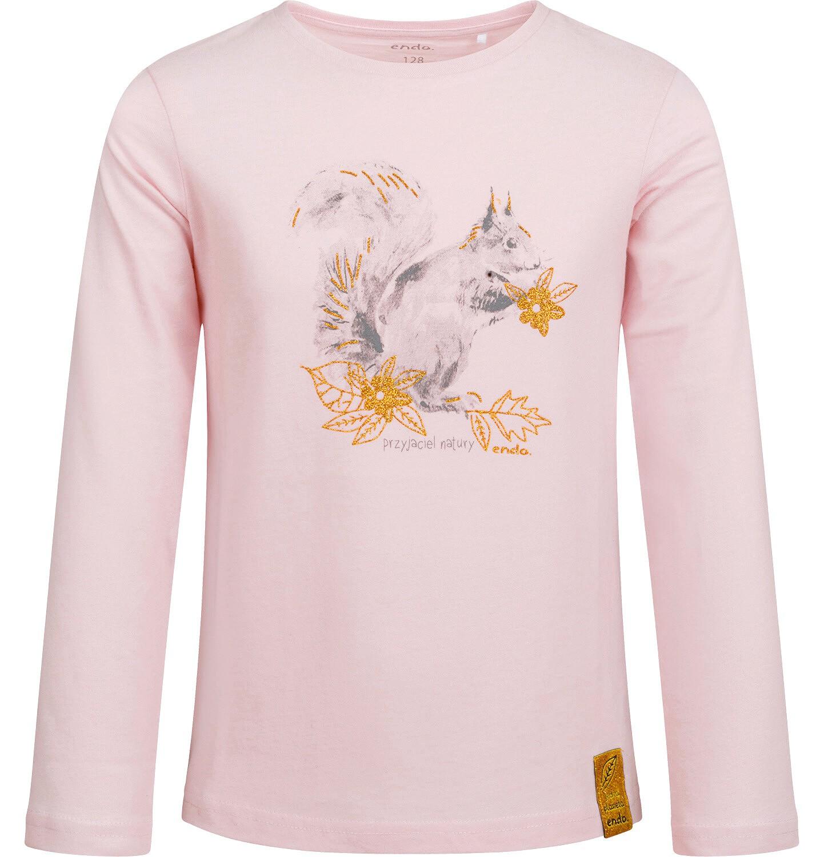 Endo - Bluzka z długim rękawem dla dziewczynki, z wiewiórką, różowa, 2-8 lat D04G009_1