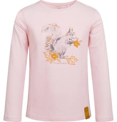 Endo - Bluzka z długim rękawem dla dziewczynki, z wiewiórką, różowa, 2-8 lat D04G009_1,1
